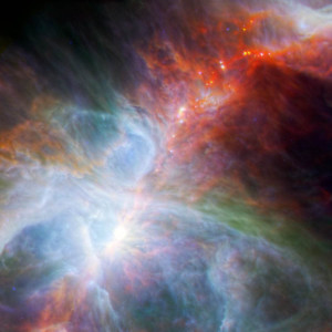 This new view of the Orion nebula highlights fledging stars hidden in the gas and clouds. It shows infrared observations taken by NASA's Spitzer Space Telescope and the European Space Agency's Herschel mission, in which NASA plays an important role.
