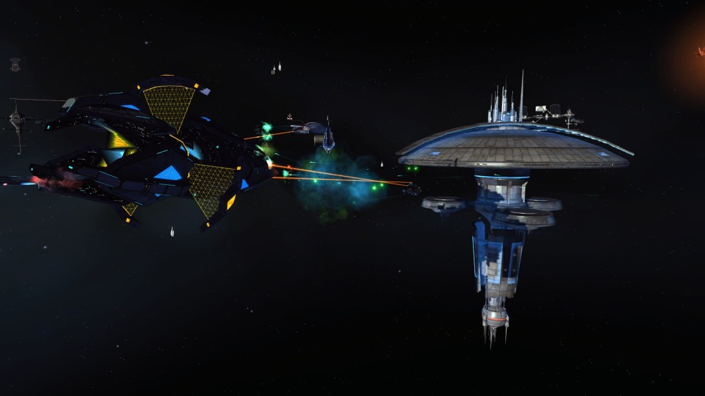 A Fleet Starbase under attack by Tholians.