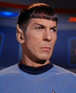 Spock as First Officer and Science officer of the NCC-1701. He is half-Vulcan, half-Human
