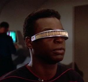 Geordi La Forge, played by Le Var Burton, wearing the VISOR
