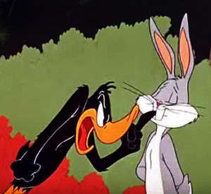 Daffy Duck yelling at Bugs Bunny