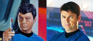 DeForest Kelley and Karl Urban as Dr. McCoy