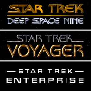 The logos of Deep Space Nine, Voyager, and Enterprise