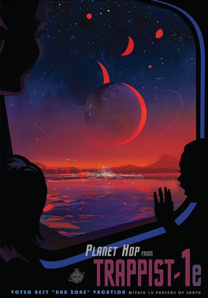 NASA mock travel poster for the TRAPPIST-1 system