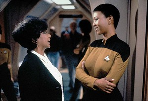 Nichelle Nichols and Dr. Mae Jemison on the set of 'Next Generation.'