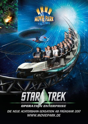 Poster for 'Star Trek: Operation Enterprise' roller coaster at Movie Park Germany theme park