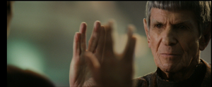 Spock Prime salutes Spock at the end of 'Star Trek' (2009)