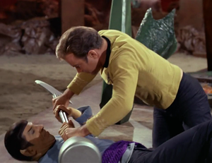 Kirk and Spock fight in the TOS episode 'Amok Time'