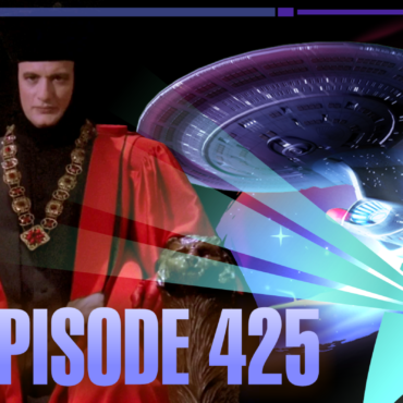 The character of Q from Star Trek TNG with the Enterprise D in the background